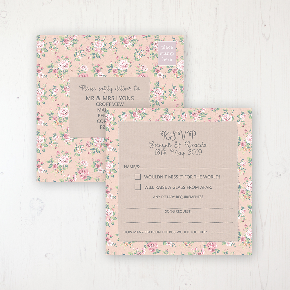Going to the Chapel Wedding RSVP Postcard Personalised Front & Back