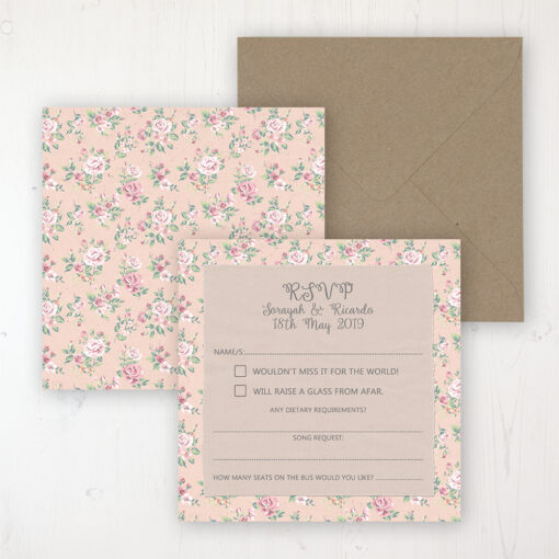 Going to the Chapel Wedding RSVP Personalised Front & Back with Rustic Envelope