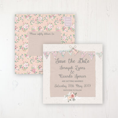 Going to the Chapel Wedding Save the Date Postcard Personalised Front & Back