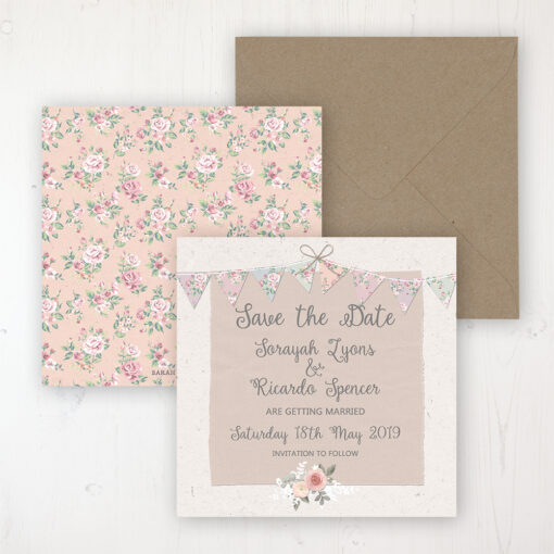 Going to the Chapel Wedding Save the Date Personalised Front & Back with Rustic Envelope