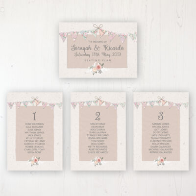 Going to the Chapel Wedding Table Plan Cards Personalised with Table Names and Guest Names