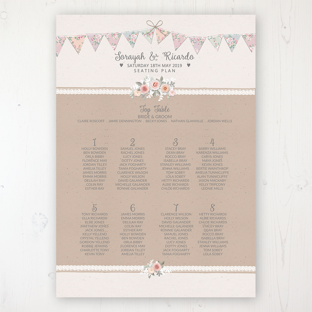 Going to the Chapel Wedding Table Plan Poster Personalised with Table and Guest Names