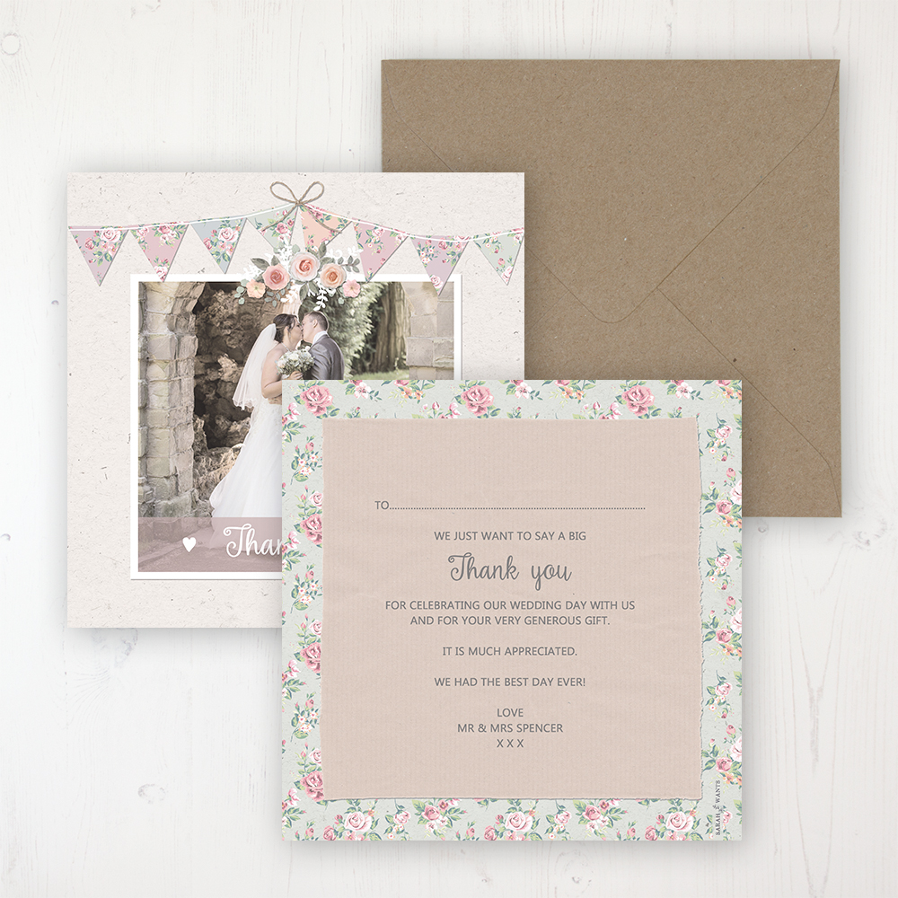 Going to the Chapel Wedding Thank You Card - Flat Personalised with a Message & Photo