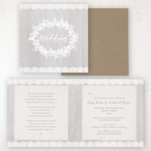 Grey Whisper Wedding Invitation - Folded Personalised Front & Back. Includes Rustic Envelope