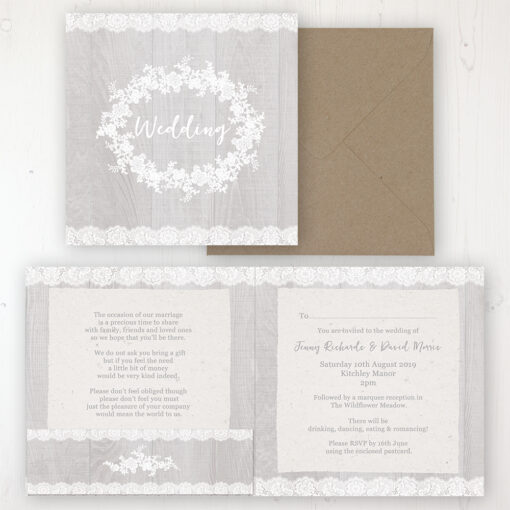 Grey Whisper Wedding Invitation - Folded Personalised Front & Back with Pocket in inside cover. Includes Rustic Envelope