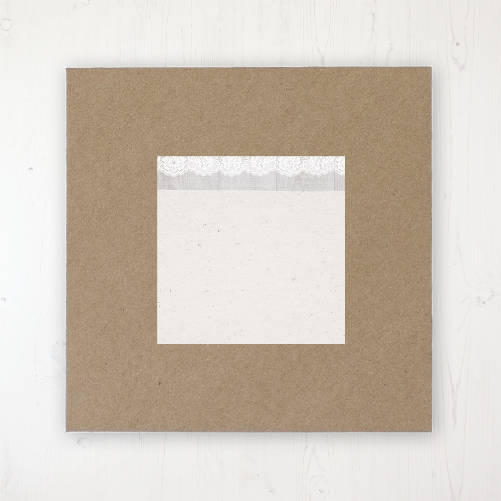Grey Whisper Wedding Envelope Label on Rustic Brown Envelope
