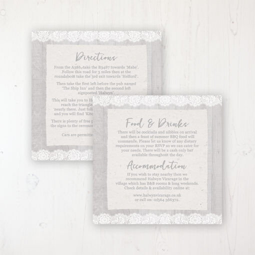 Grey Whisper Wedding Info Insert Card Personalised Front & Back