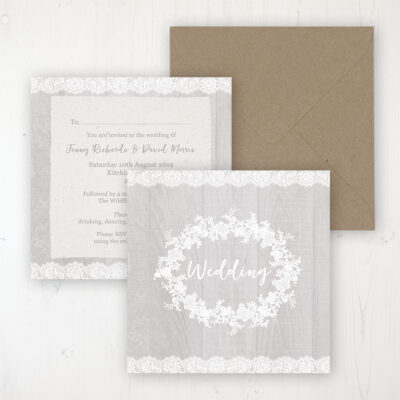 Grey Whisper Wedding Invitation - Flat Personalised Front & Back with Rustic Envelope