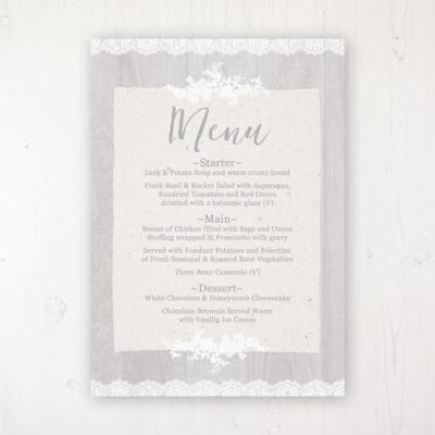 Grey Whisper Wedding Menu Card Personalised to display on tables