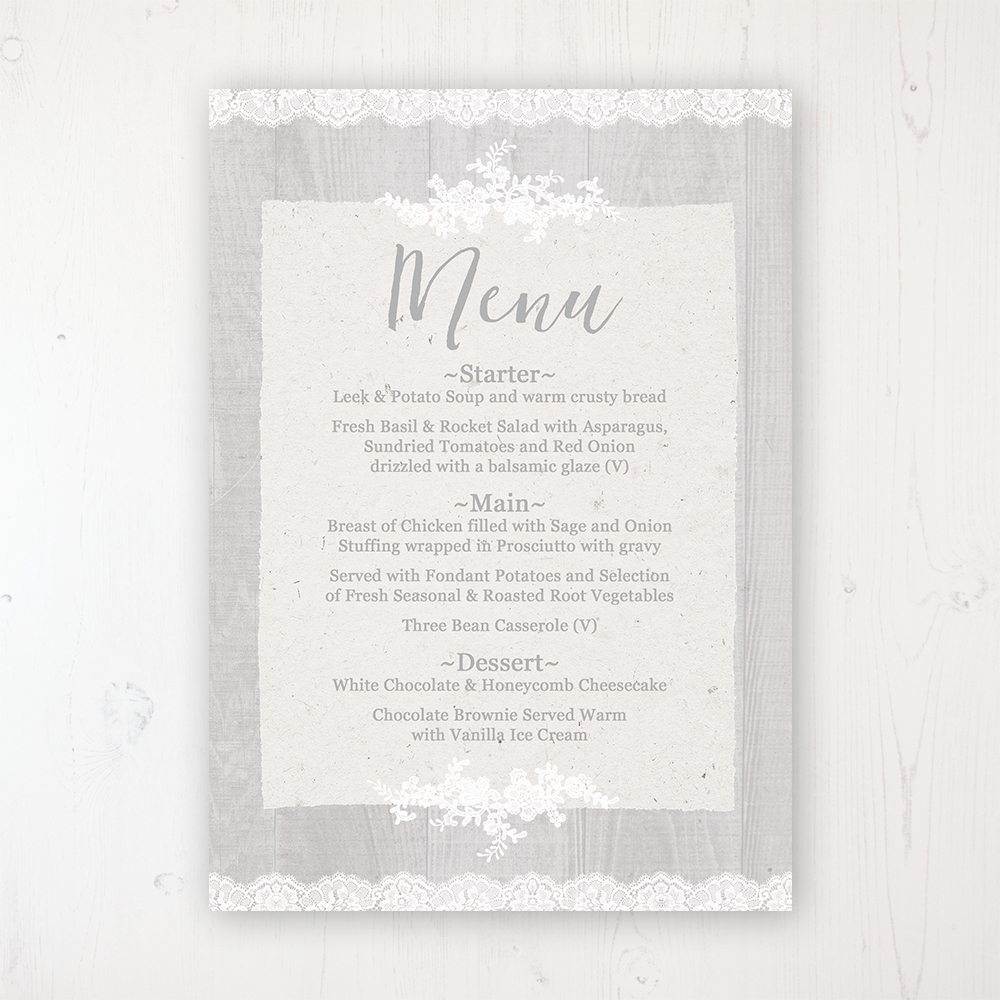 Grey Whisper Wedding Menu Card Personalised to display on tables