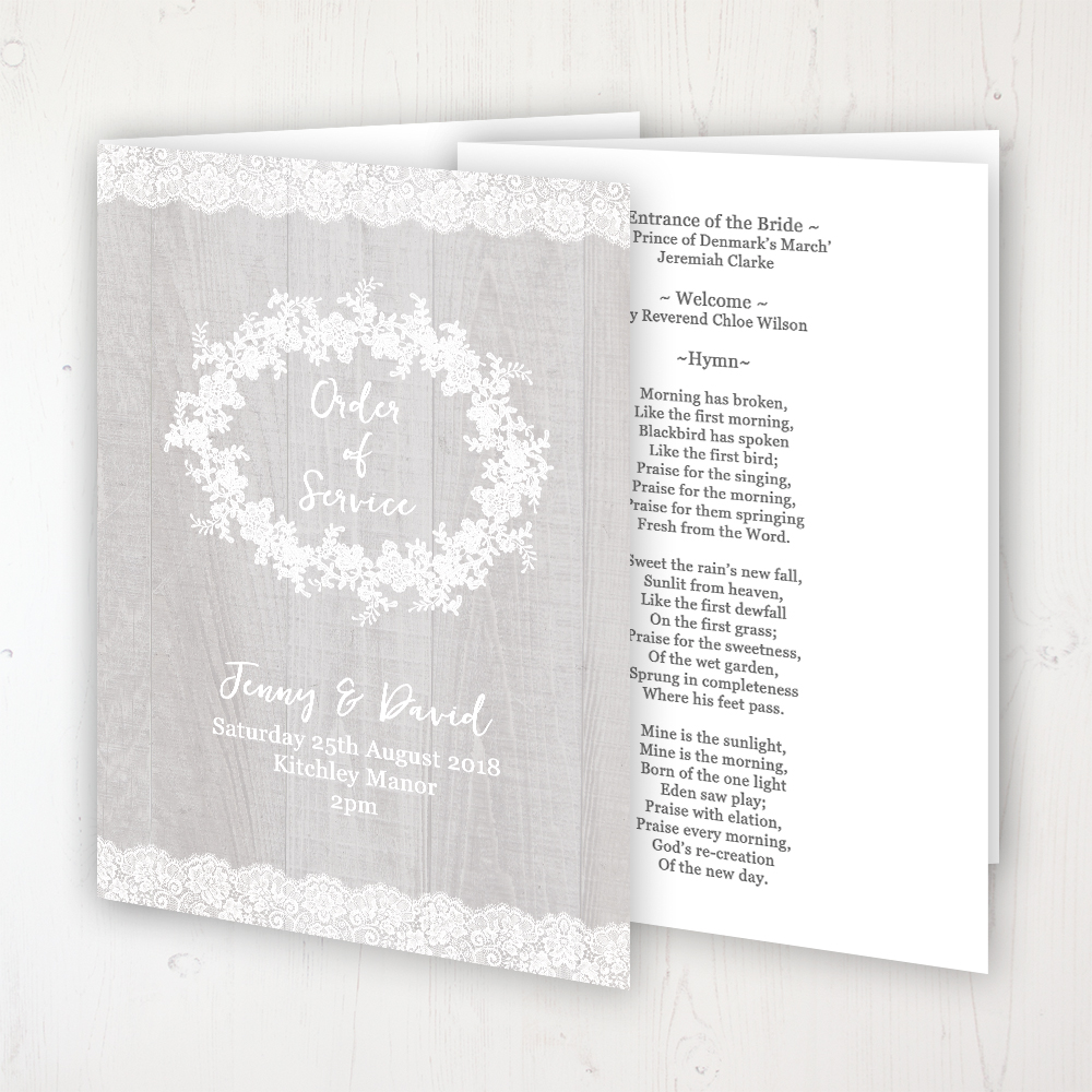 Grey Whisper Wedding Order of Service - Booklet Personalised Front & Inside Pages