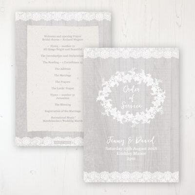 Grey Whisper Wedding Order of Service - Card Personalised front and back