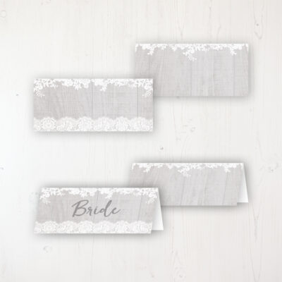 Grey Whisper Wedding Place Name Cards Blank and Personalised with Flat or Folded Option