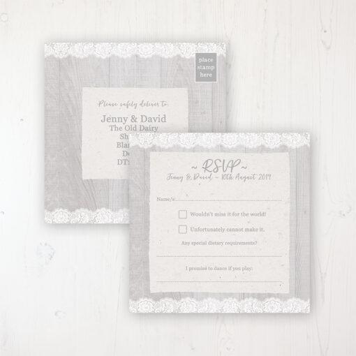 Grey Whisper Wedding RSVP Postcard Personalised Front & Back