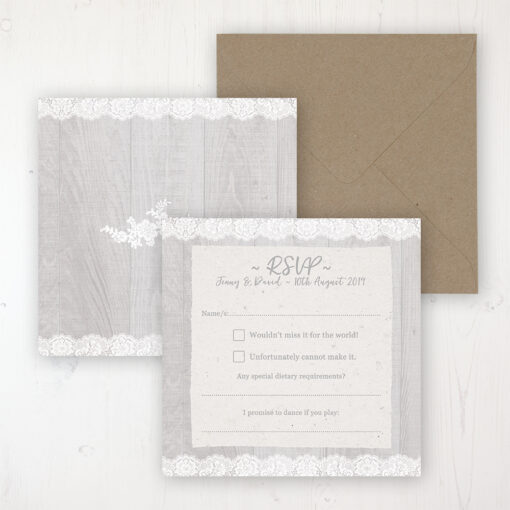 Grey Whisper Wedding RSVP Personalised Front & Back with Rustic Envelope