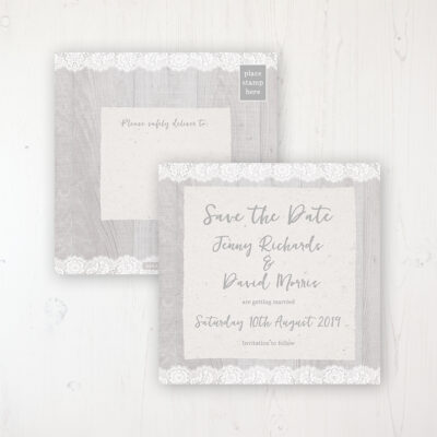 Grey Whisper Wedding Save the Date Postcard Personalised Front & Back