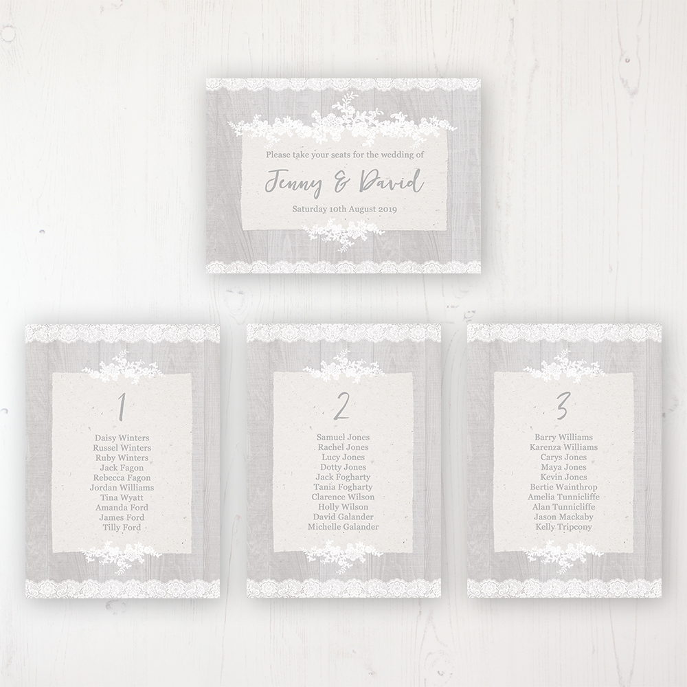 Grey Whisper Wedding Table Plan Cards Personalised with Table Names and Guest Names