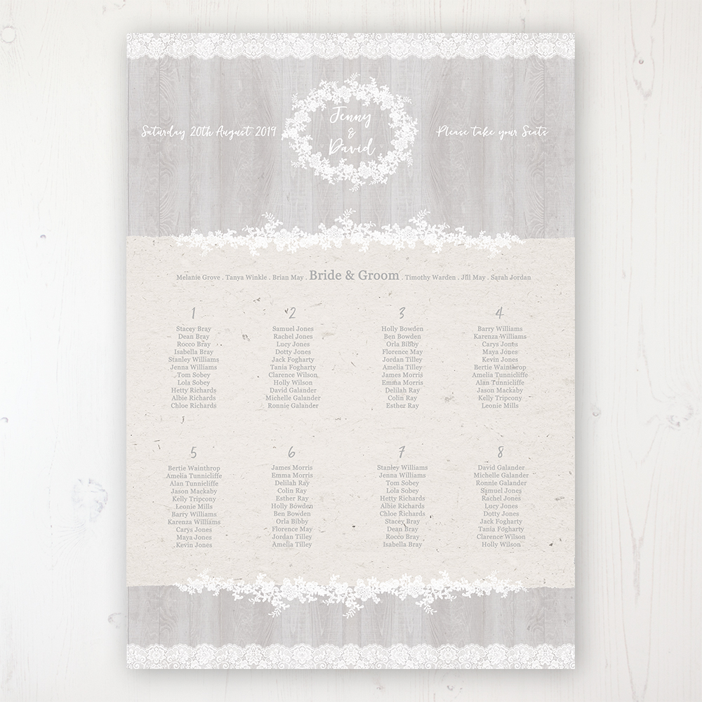 Grey Whisper Wedding Table Plan Poster Personalised with Table and Guest Names