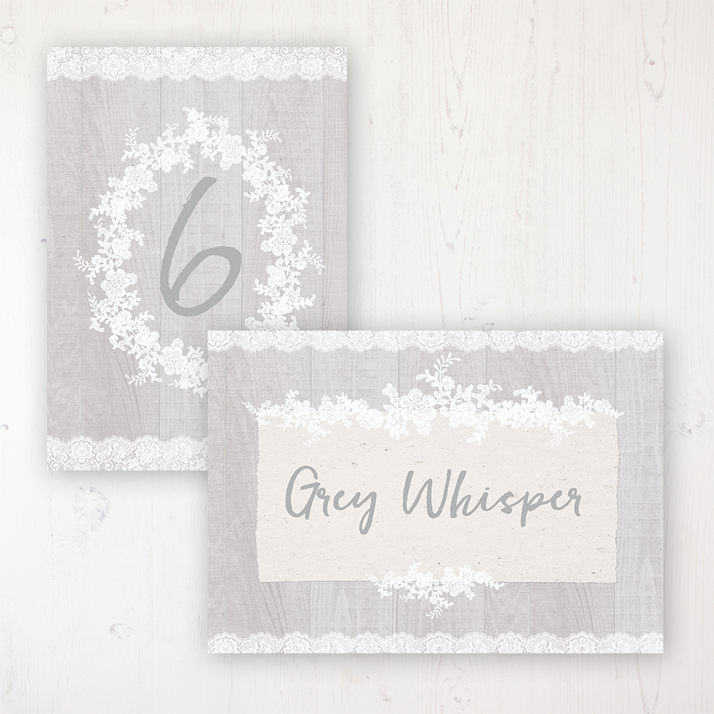 Grey Whisper Wedding Table Name & Number Personalised Table Name Card and Number Card
