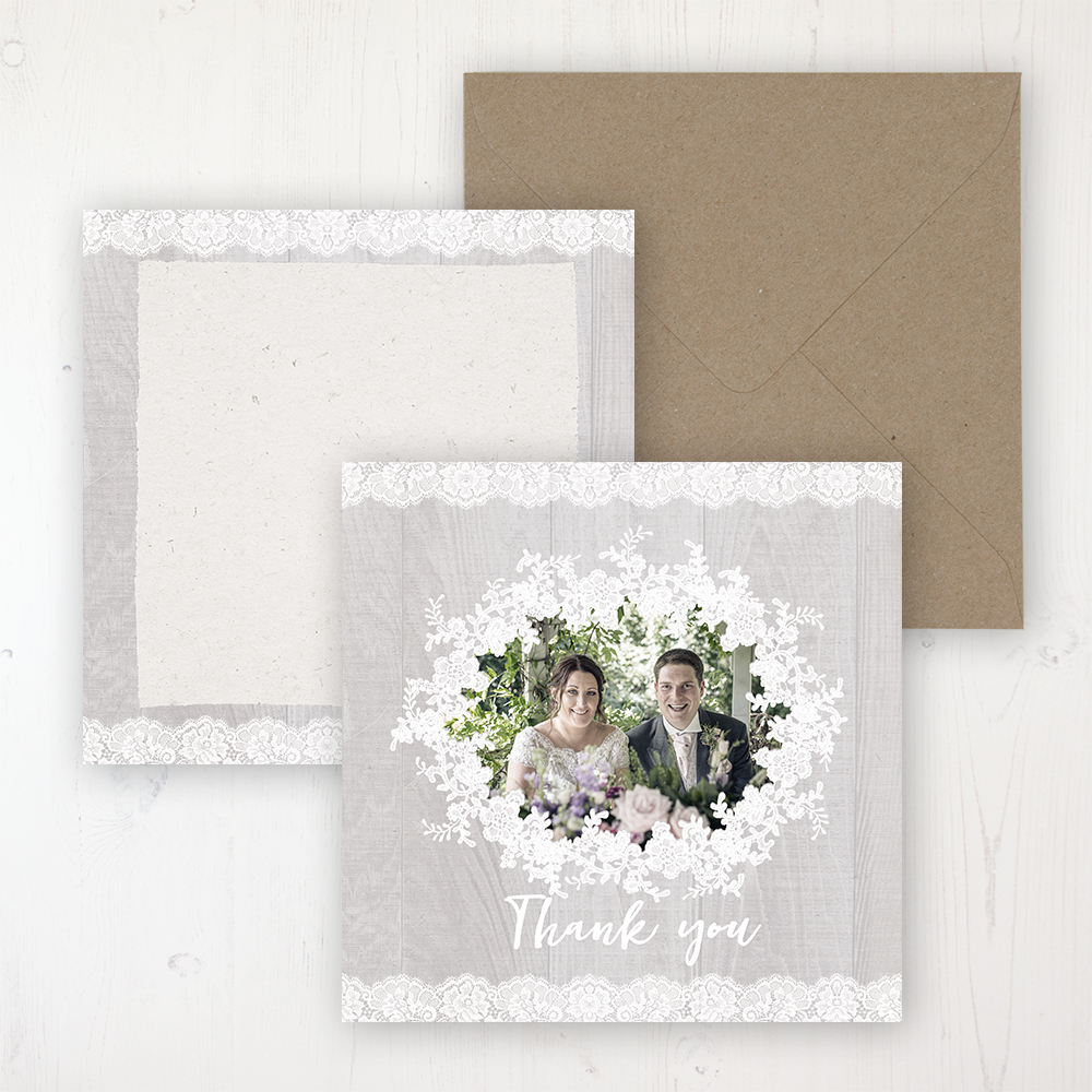 Grey Whisper Wedding with a photo and with space to write own message