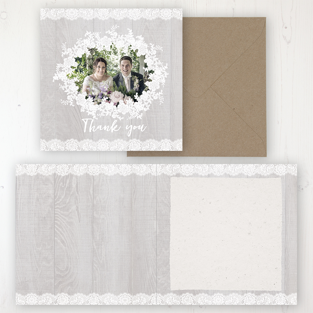 Grey Whisper Wedding Thank You Card - Folded Personalised with a Message & Photo