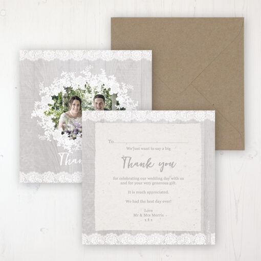 Grey Whisper Wedding Thank You Card - Flat Personalised with a Message & Photo