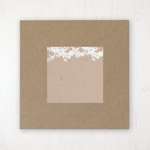 Lace Filigree Wedding Envelope Label on Rustic Brown Envelope