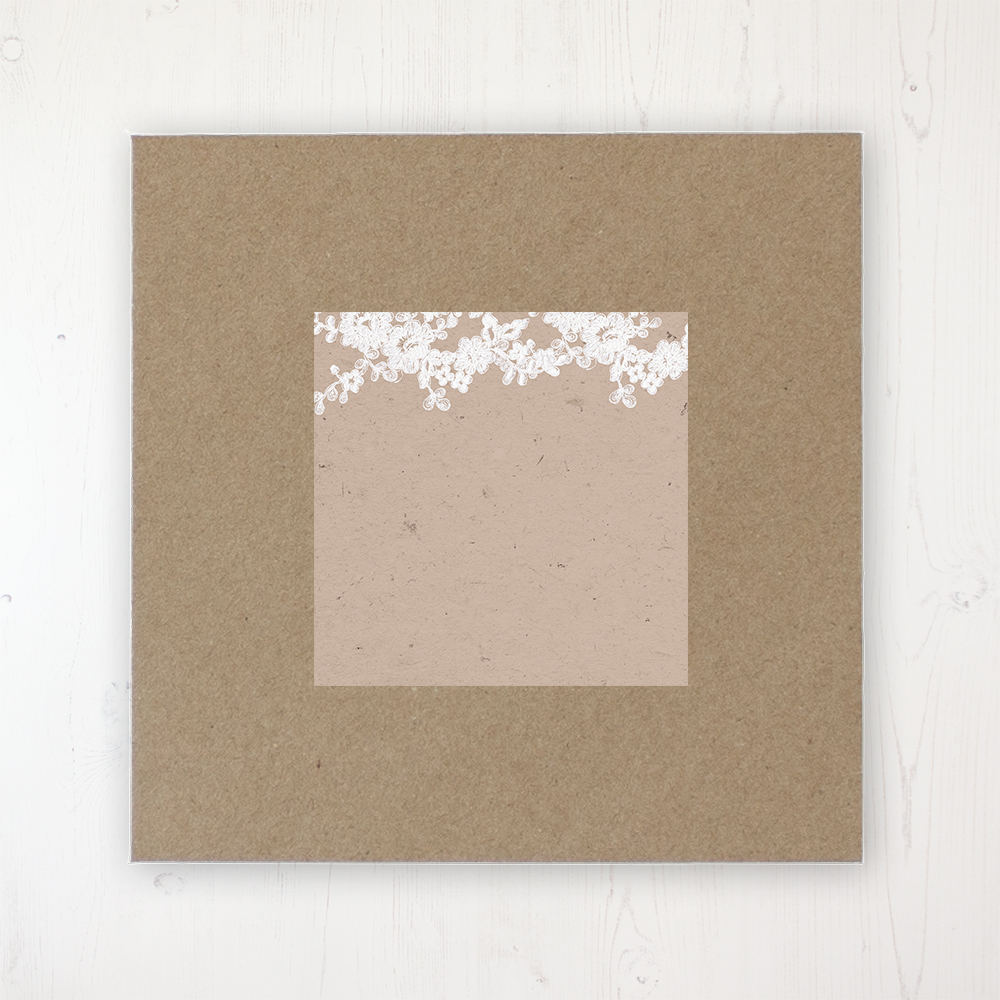 Lace Filigree Wedding Envelope Label on Rustic Brown Envelope