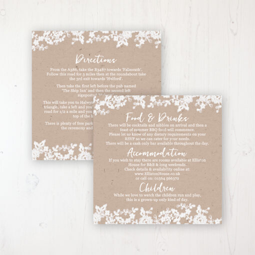 Lace Filigree Wedding Info Insert Card Personalised Front & Back