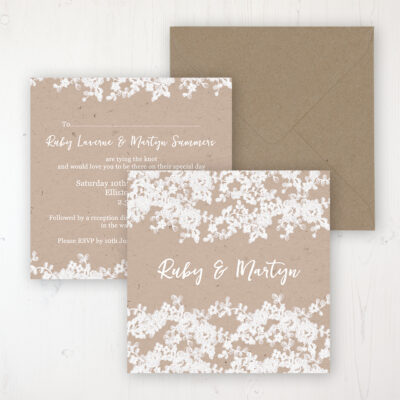 Lace Filigree Wedding Invitation - Flat Personalised Front & Back with Rustic Envelope