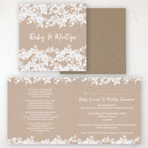 Lace Filigree Wedding Invitation - Folded Personalised Front & Back with Rustic Envelope
