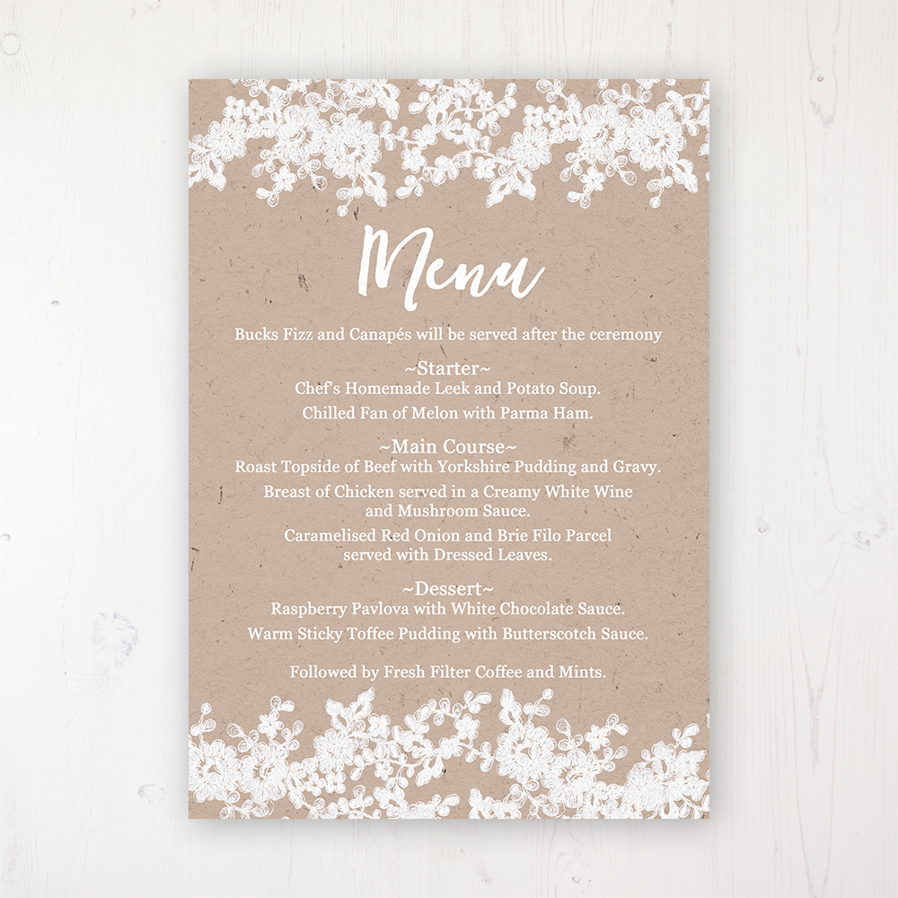 Lace Filigree Wedding Menu Card Personalised to display on tables