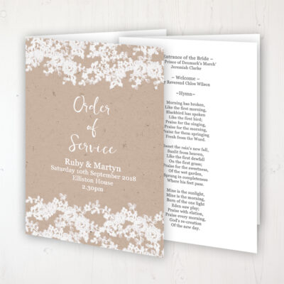 Lace Filigree Wedding Order of Service - Booklet Personalised Front & Inside Pages