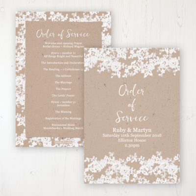 Lace Filigree Wedding Order of Service - Card Personalised front and back