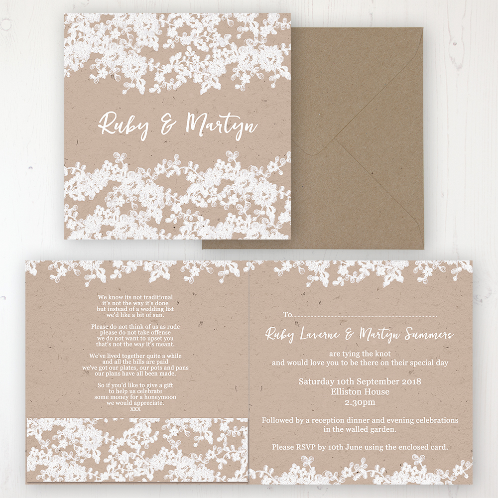 Lace Filigree Wedding Invitation - Folded Personalised Front & Back with Pocket in inside cover. Includes Rustic Envelope