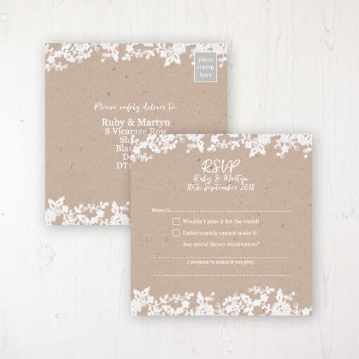 Lace Filigree Wedding RSVP Postcard Personalised Front & Back