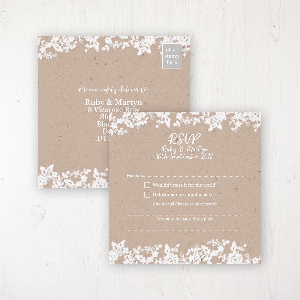 Lace Filigree Wedding RSVP Postcard Personalised Front & Back
