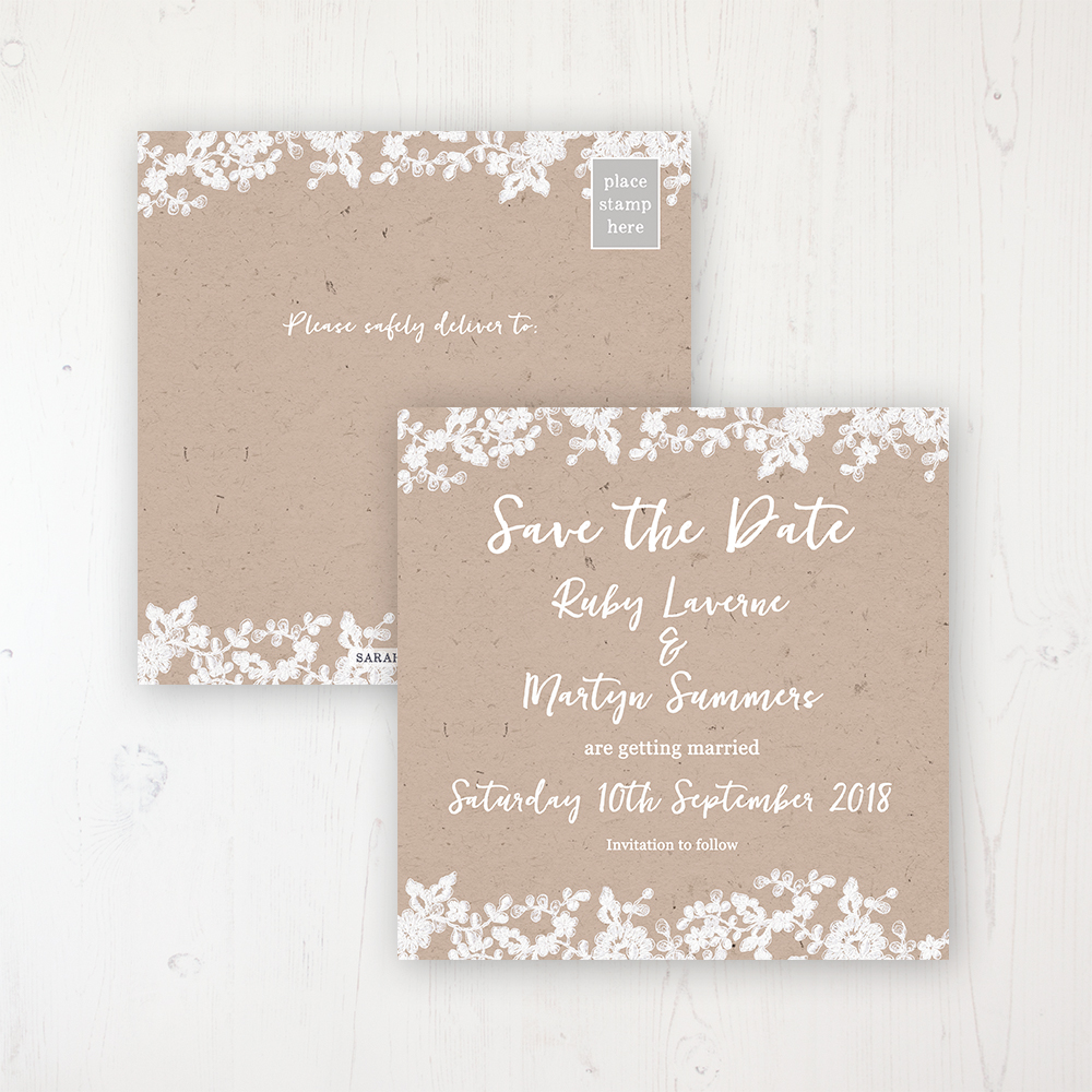 Lace Filigree Wedding Save the Date Postcard Personalised Front & Back