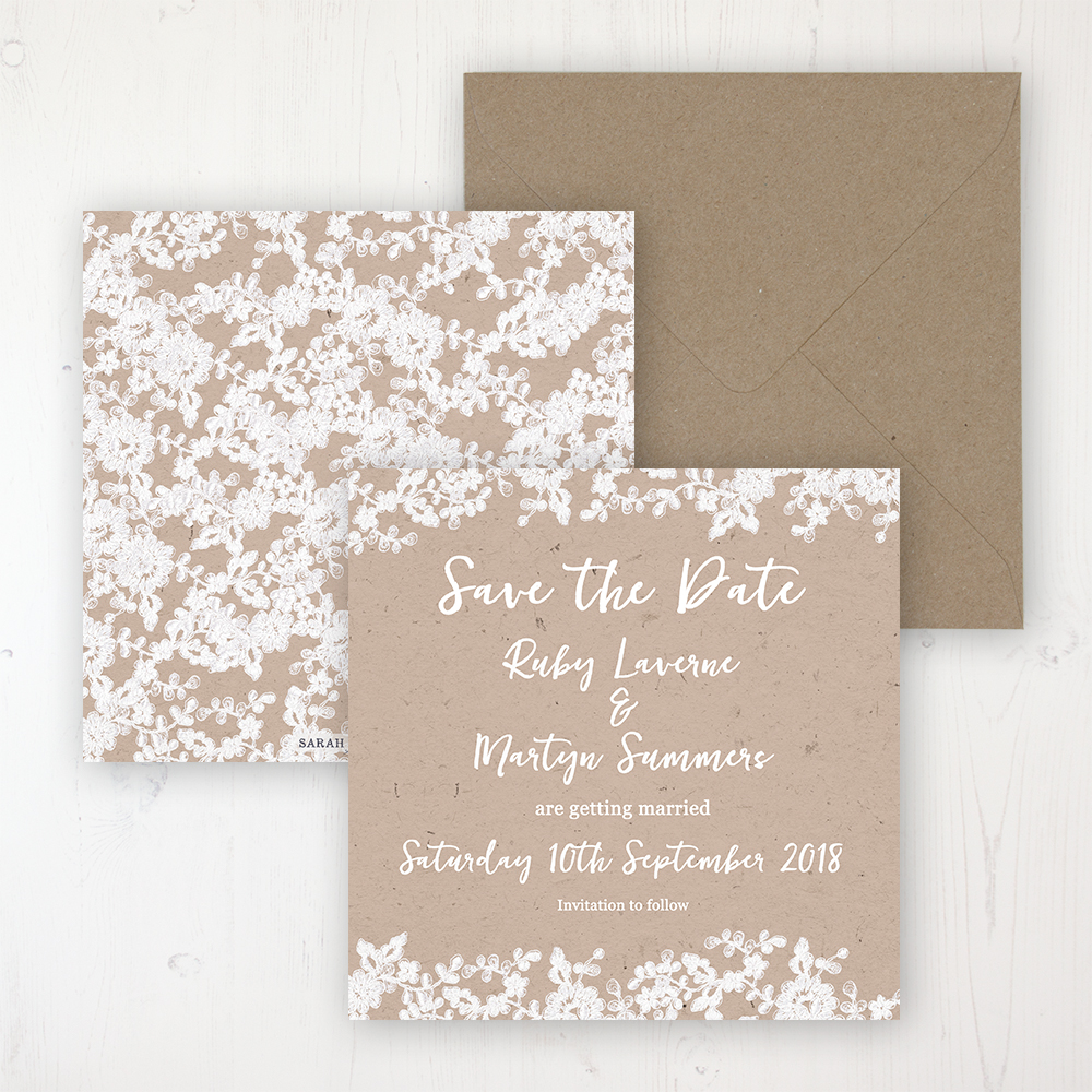 Lace Filigree Wedding Save the Date Personalised Front & Back with Rustic Envelope