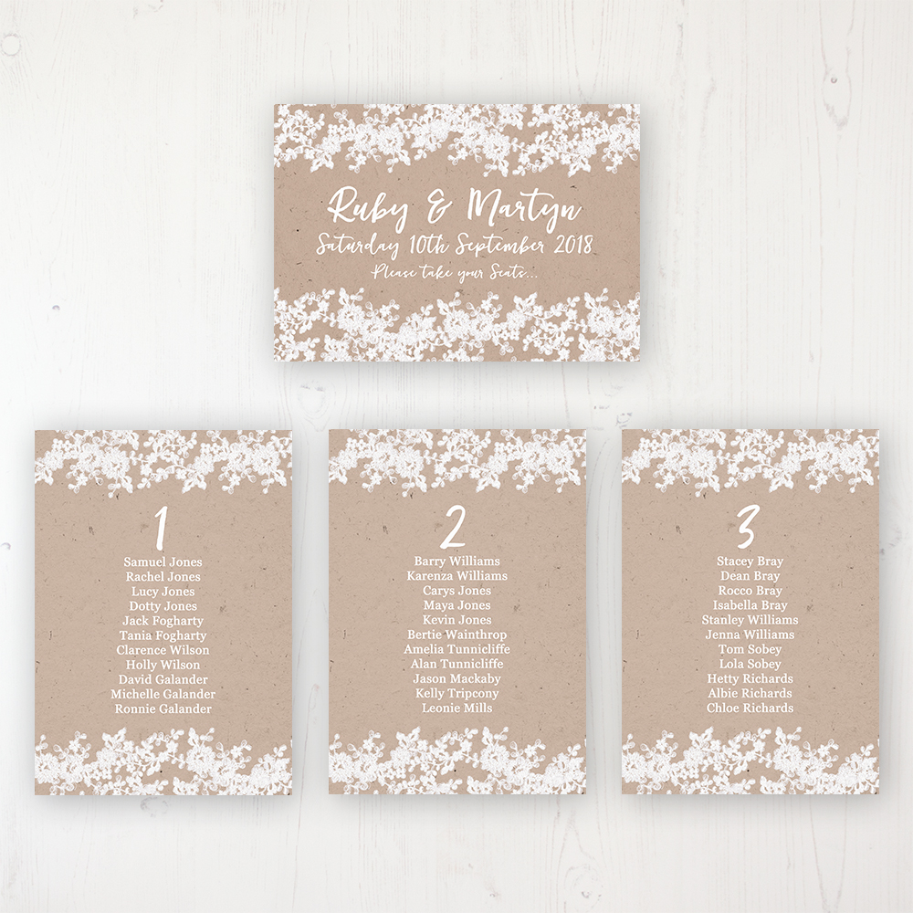 Lace Filigree Wedding Table Plan Cards Personalised with Table Names and Guest Names