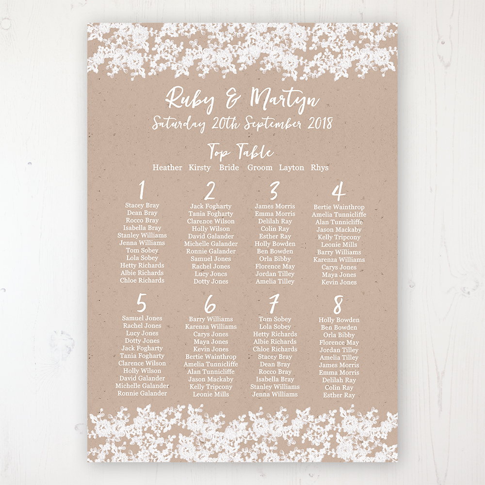 Lace Filigree Wedding Table Plan Poster Personalised with Table and Guest Names