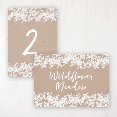 Lace Filigree Wedding Table Name & Number Personalised Table Name Card and Number Card