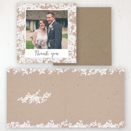 Lace Filigree Wedding Thank You Card - Folded Personalised with a Message & Photo