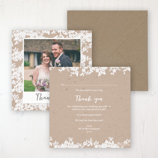 Lace Filigree Wedding Thank You Card - Flat Personalised with a Message & Photo