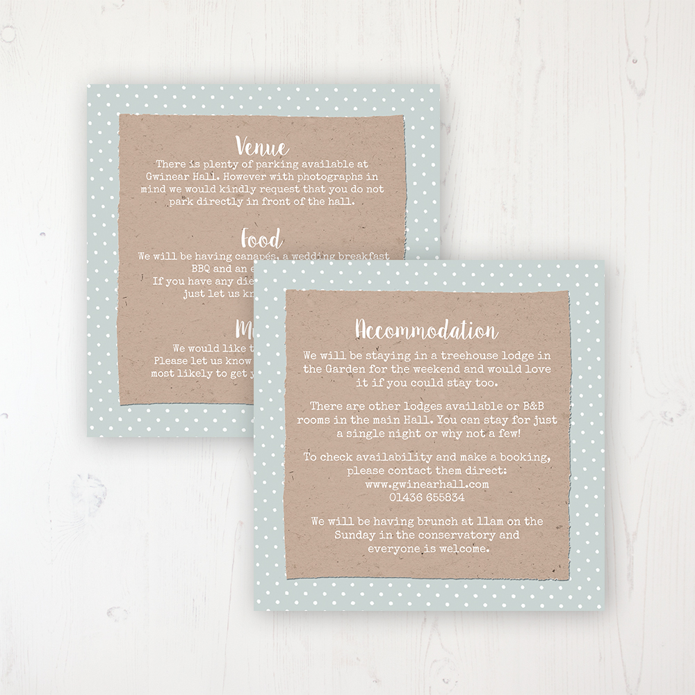 Lovebirds Wedding Info Insert Card Personalised Front & Back