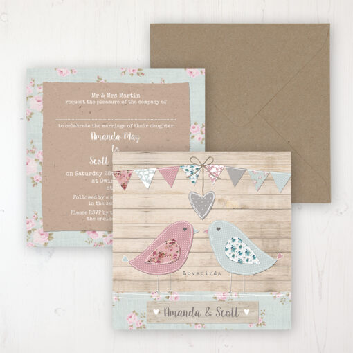 Lovebirds Wedding Invitation - Flat Personalised Front & Back with Rustic Envelope