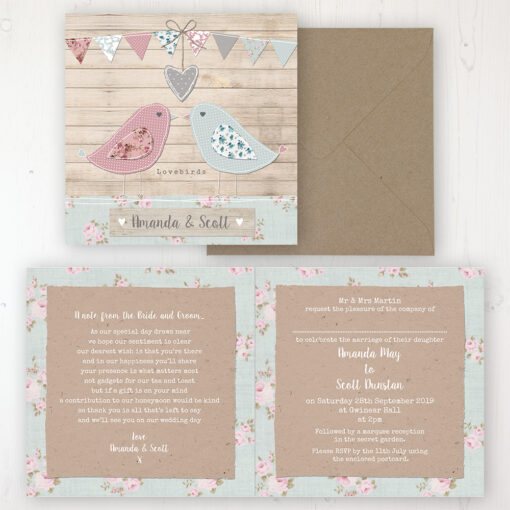 Lovebirds Wedding Invitation - Folded Personalised Front & Back with Rustic Envelope