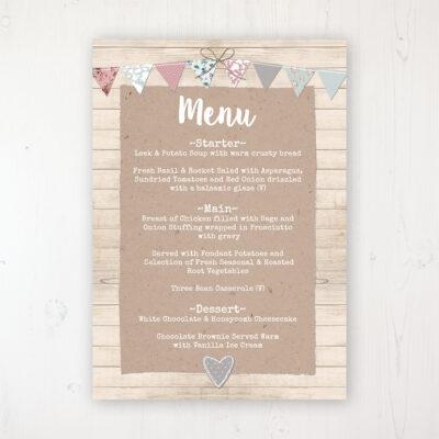 Lovebirds Wedding Menu Card Personalised to display on tables