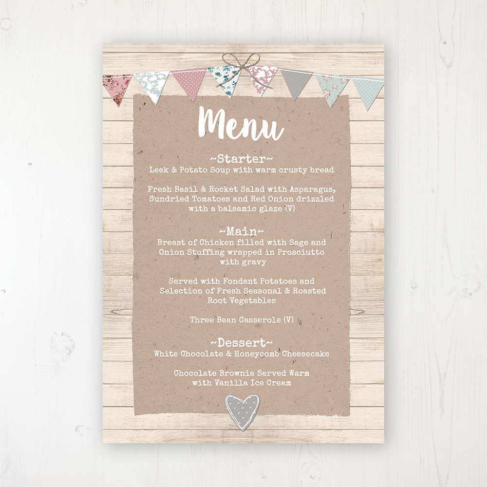 Lovebirds Wedding Menu Card Personalised to display on tables