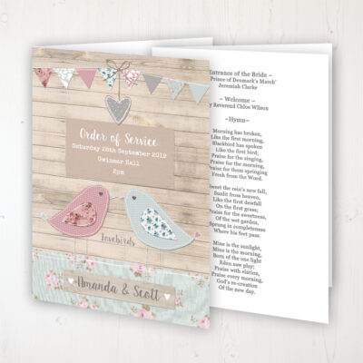 Lovebirds Wedding Order of Service - Booklet Personalised Front & Inside Pages